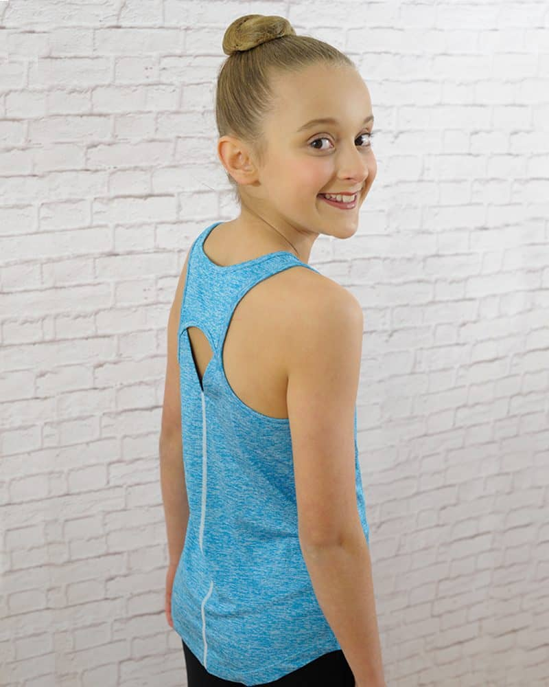 A girl wears and shows the back detail of her blue sleeveless top activewear.