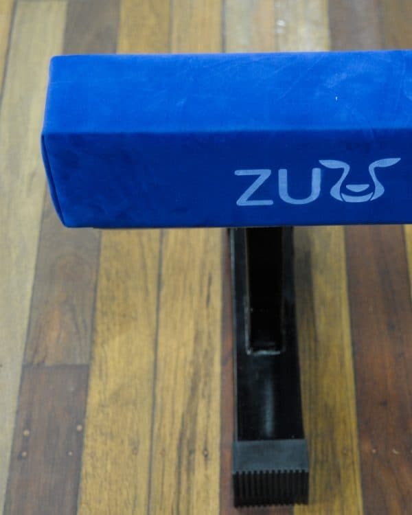 A Blue balance beam with steel leg.