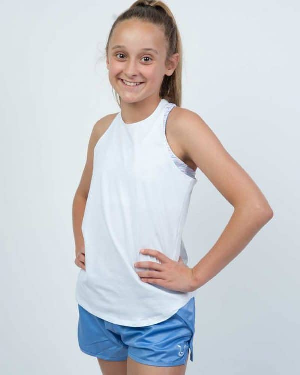 Young athlete wearing white crisscross tank back view